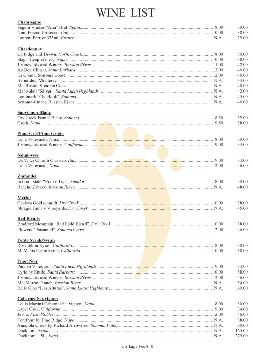 Barefoot Cafe Wine List